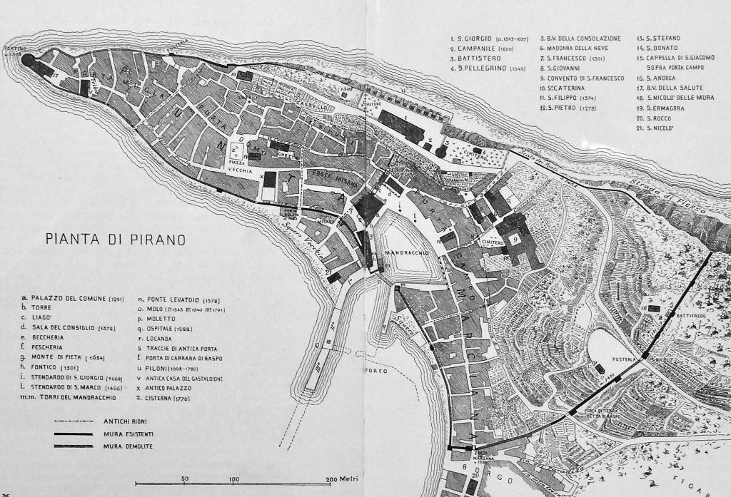 Zemljevid Pirana okoli leta 1800